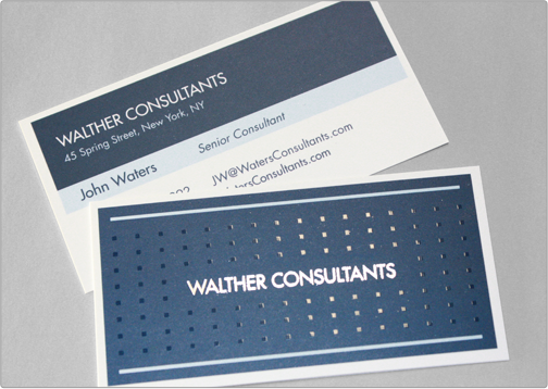 Business card template toi design walther consultants the walther consultants silk business card provides a corporate classy and professional image while integrating decorative silver foil and spot gloss reheart Gallery