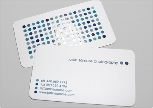 Business card template toi design justin samose the justin samose silk business card has a fun dotted pattern in spot gloss and is printed with die cut rounded corners specs standard cut 16pt silk bc accmission Gallery