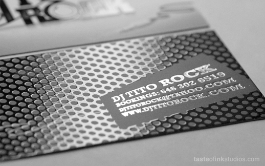 Custom business cards best cool business cards taste of ink custom business card with spot gloss and silver foil reheart Gallery