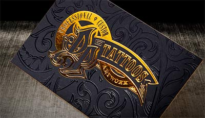 Gold metallic foil on high end business cards.