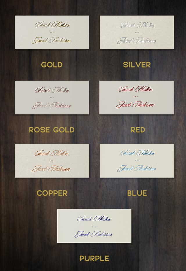 Metallic Foil color choices for wedding invitations.